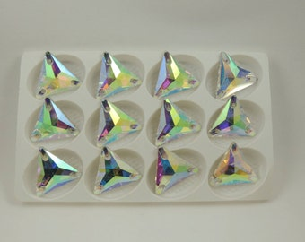 AB Triangle shape sew on glass crystals  22x22mm