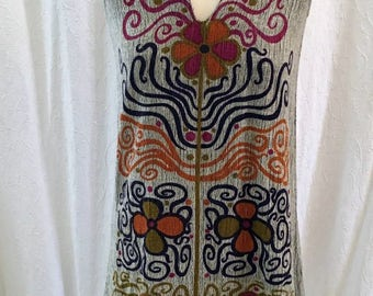 Vintage Seventies Rare Rikma 1970's Cotton Print Dress V-neck, Size: Small
