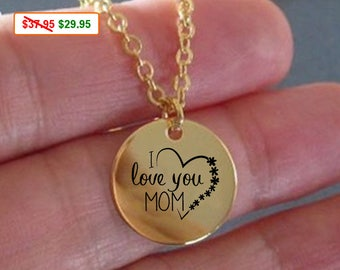 Mom Necklace I Love You Mom Gold Necklace is a Gift for Mom for Mothers Day. Mothers Necklace as Mother's Day Gift From Daughter or From Son