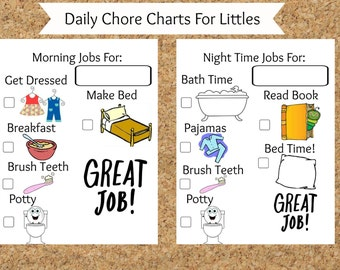 Picture chore charts for toddlers, printable chore charts, blank chore chart, preschooler, daycare, easy to read sticker chart,picture chart