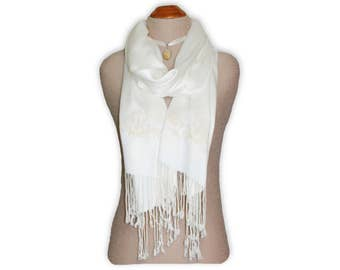 Ivory Pashmina Scarf Wrap, Embroidered Pashmina Shawl, Ivory Pashmina Wrap, Gift for her, Spring Shawl, Birthday Gift, Bridesmaid gifts