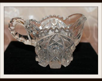 Vintage National Imperial Glass Company NUCUT Crystal Glass Creamer