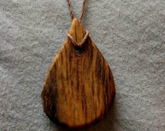 Wooden tear drop pendant necklace
