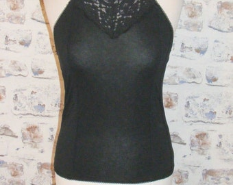 Size 8-10 vintage 90s style high halter neck Victorian brooch laceyoke top black