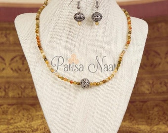 Small beads earthy tones jade necklace set