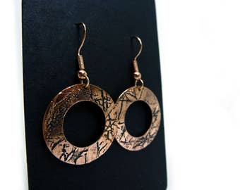Copper Earrings | Copper Jewellery | Handmade | Etched Copper | Gift for her | Textured Copper | Embossed | Polo