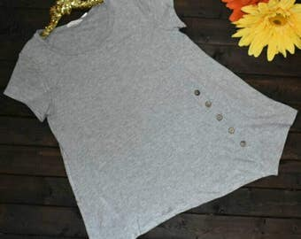 PLUS SIZE -  Heather Grey Side Button Tunic Top