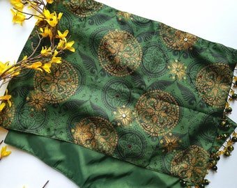 Green and Gold  Print with Beads Table Runner
