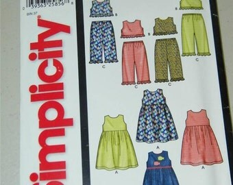 Simplicity Girls Pants Dress Top Pattern 5988 12795 UNCUT Size 1/2 to 4 Easy