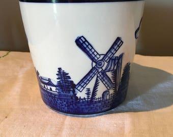 Porcelain pot Planter with Holland windmill scene/windmills sailboats birds planter/porcelain outdoor planter/Royal blue planter pot