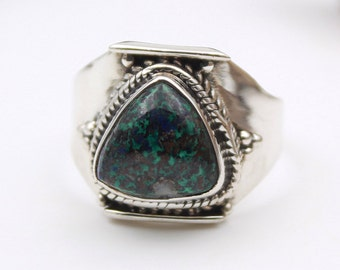 Boho Shattuckite Sterling Silver Ring Size 7.5 - Green Shattuckite 925 Sterling Silver
