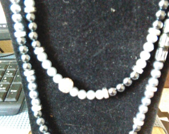 Beaded necklace, extra long, glass pearls, dressy neck wear, 36 inches