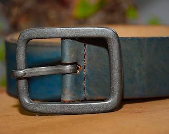 Blue Leather Belt, Rustic Leather Belt, Mens Leather Belt, Vintage Blue Belt, Vintage Leather Belt, Vintage Leather Belt, Mens belt