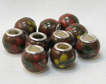 Large hole porcelain beads in brown with red and yellow flowers, set of 10. #8