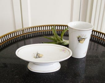 """Vintage Soap Dish and Cup Enesco Imports """"Elegance"""" Artist Josephine Currie 1978"""