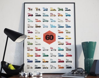 Deco poster - Collection of the mythical cars - 70 x 50