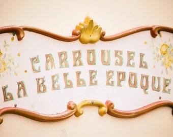 "Paris Nursery Print - carousel sign 16x20 8x10 pink nursery photography 11x14  5x7 merry go round girl room art whimsical decor - ""Epoque"""