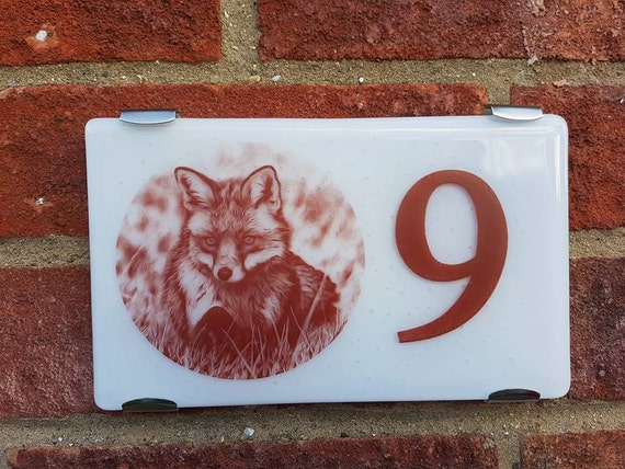 Fused Glass House Number Plaque (Personalise with your own photo)