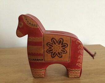 A Vintage Scandinavian Leather Dalarna Horse Money Box