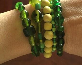 Multi Stack Bracelet Set~Green