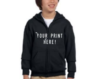 Kids / Youth Zip-Up Hoodie W/ Custom Print