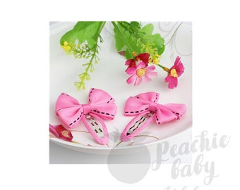 Preppy Bows Hair Snap Clips for Babies and Girls, Candy Pink with Black Stitching, Pair