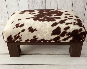 upholstered ottoman cow print cowhide ottoman fur stool rustic furniture faux fur foot