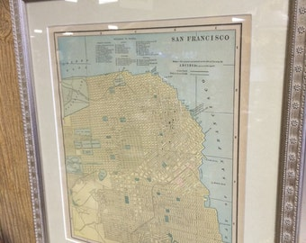1870's Map of San Francisco California custom framed and matted Cali