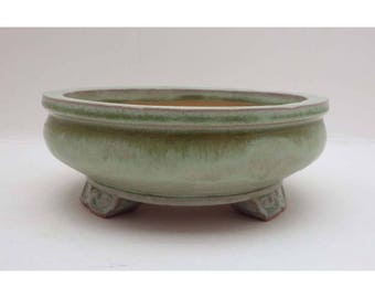Bonsai Pot / Planter. Handmade small planter with 3 decorative feet in a textured green glaze. Stoneware & frost resistant