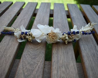 Played dried and preserved flowers | Rustic headpiece with preserved and dried flowers