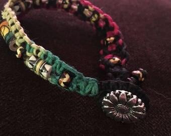 Rasta hemp bracelet, macrame, peace