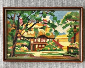 House and Trees Vintage Framed Cross-stitch Artwork