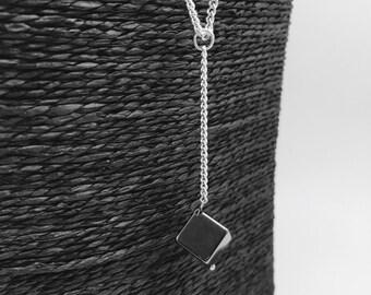 Sautoir silver Cube Hematite