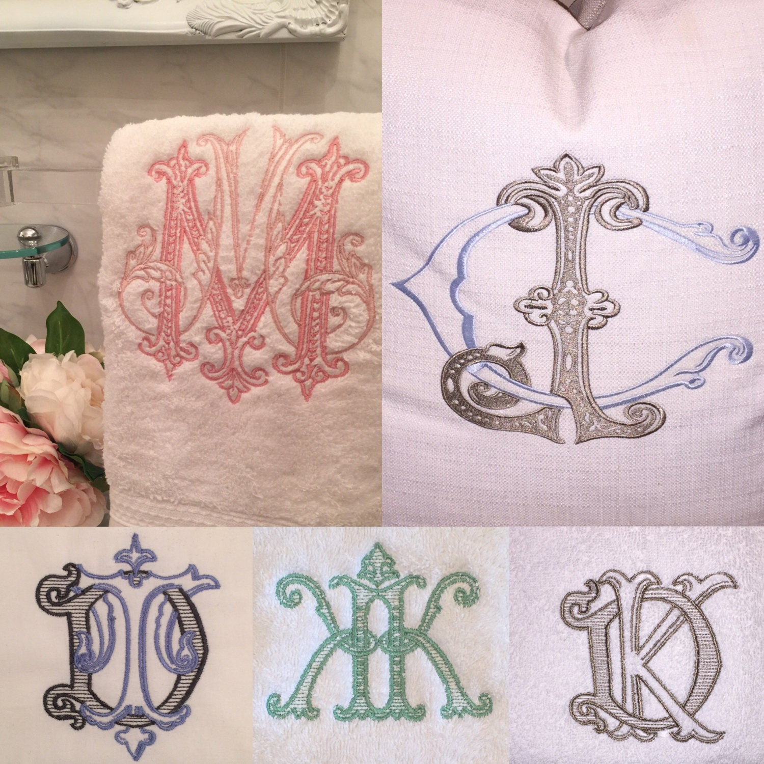 Embroidered Terry Cloth Hand Towels: Custom 2 Letter Monogram Embroidered TERRY Hand/Guest Towels