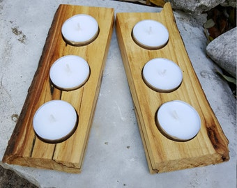 Live Edge Rustic Wood Tealight Candle Holder