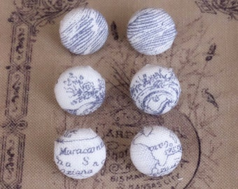 French map fabric stud earrings - small