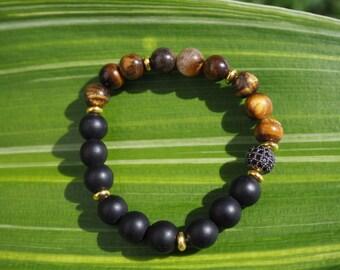 Mens bracelet   Tiger's eye. semi precious stone. natural stone. Jewelry bracelet. men's bracelet