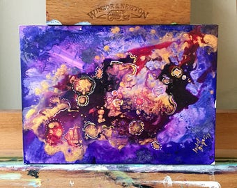Mini Mixed-Media Abstract Painting on Thin Clayboard - FREE SHIPPING!