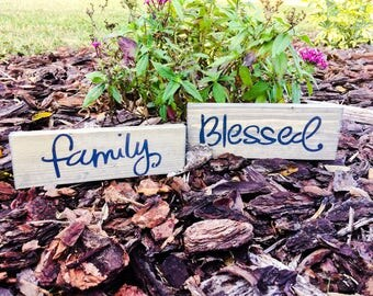 Family/Blessed Wooden sign/Blocks