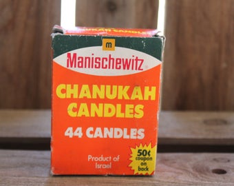 Manischewitz Chanukah Candles Vintage 1970's Candle Lighting Made in Israel 32 Candles Menorah Candles Shabbot Candle Hanukkah Blessings
