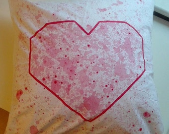 Cushion cover 50 x 50 cm heart, hand painted