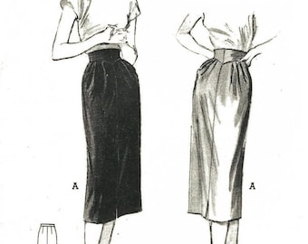 Vintage 1950's Sewing Pattern Hollywood Wiggle Arrow-Slim Pencil Skirt W 28""