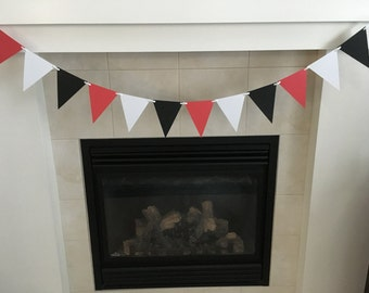 Red White and Black Banner,Ladybug Party, Pennant Banner, Triangle Banner, Red and Black Birthday, Photo Prop, Cake Smash, Baby Shower