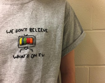 "Twenty One Pilots ""We Don't Believe What's On TV"" Embroidered Shirt"