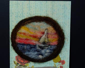 Sailboat Sunset Ocean Needle Felted Brooch