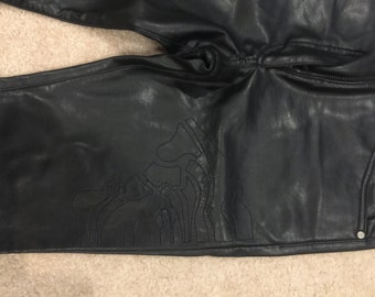 Versace Faux-Leather Vintage Cigarette Pants