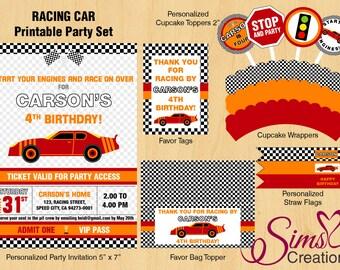 Race Car Party Printable, Race Car Birthday Pack, Race Car Birthday Invitation, Race Car Banner, Race Car Party Signs, Transportation Party