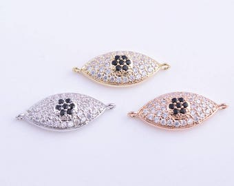 14k gold/rose gold/white gold CZ zirconia micro pave evil eye charm/pendant/connector/links, 25MM*10MM