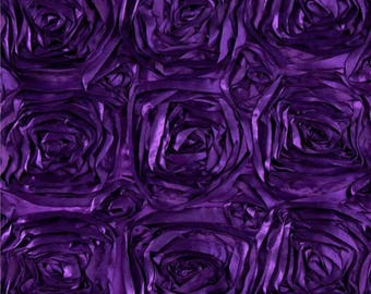 PURPLE Rosette Satin Fabric 50 inches wide by the yard