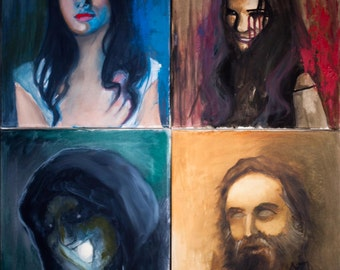 Supernatural Ghosts oil paintings (Lady in White, Bloody Mary, Shtriga, H.H. Holmes)